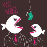 Angry business-fishes. Two businessman with a predatory fish instead of heads ready to pounce on the money on a fishing hook. Business metaphor. Hand-drawn Royalty Free Stock Image
