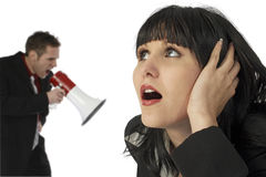 Angry Business Man and Annoyed Woman royalty free stock photography