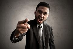 Angry business men pointing expression Stock Photos