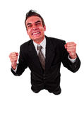 Angry business man with red exploding face. Isolated on white Royalty Free Stock Photography