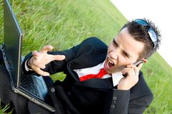 Angry business man screaming Royalty Free Stock Photography