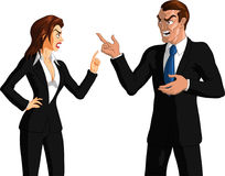 Angry business partners. Illustration of smartly dressed  male and female  business partners both pointing (wagging) a finger at each other and with Stock Photo
