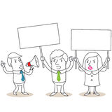 Angry business people protesting with blank signs. Vector illustration of monochrome cartoon characters: Group of angry business people protesting and holding up vector illustration