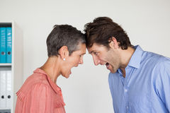 Angry business people shouting at each other. In the office Stock Photos