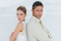Angry business team posing back to back Royalty Free Stock Photography