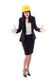Angry business woman architect in yellow helmet isolated on whit Royalty Free Stock Images
