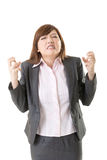 Angry business woman. Of Asian, closeup portrait isolated on white background Stock Photography