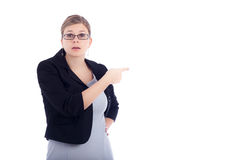 Angry business woman blaming royalty free stock photography