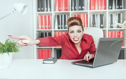 Angry business woman boss pointing out. Dismissal concept Royalty Free Stock Image