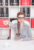 Angry business woman boss pointing out. Dismissal concept. Angry business woman boss pointing out in office. Dismissal concept Royalty Free Stock Images