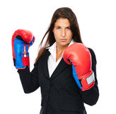 Angry business woman boxing Royalty Free Stock Photos