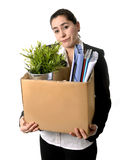 Angry Business Woman carrying Cardboard Box fired from Job Stock Images
