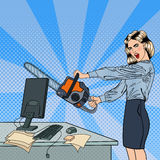 Angry Business Woman Crashes her Computer with Chainsaw. Pop Art. Vector illustration Royalty Free Stock Image
