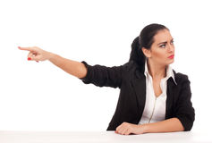 Angry business woman firing someone Stock Photos