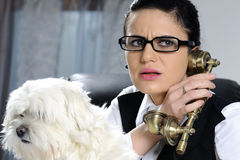 angry business woman listening Stock Photography