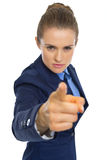 Angry business woman pointing in camera Stock Photos