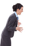 Angry business woman screaming to a side Royalty Free Stock Image