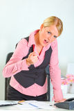 Angry business woman shaking finger Royalty Free Stock Photo