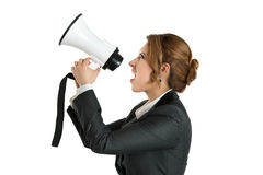 Angry business woman shouting with a megaphone Stock Photos