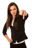 Angry business woman showing thumb down isolated over white back Stock Image