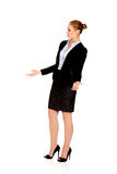 Angry business woman talking with someone Royalty Free Stock Image