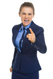 Angry business woman threatening with finger Stock Photo