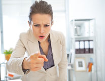 Angry business woman threatening with finger Royalty Free Stock Photos
