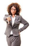 Angry business woman thumb down Royalty Free Stock Photography