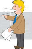 Angry Businessman. An angry businessman holding papers  and shouting Stock Image
