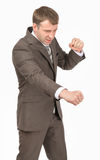Angry businessman as succesful fighter Stock Photography