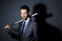 Angry businessman with bat Royalty Free Stock Photos