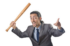 Angry businessman with bat Stock Photography