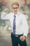 Angry businessman with bokeh background Royalty Free Stock Photography