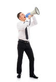Angry businessman boss screaming with a megaphone Stock Photography