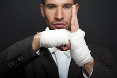 Angry businessman boxer Stock Images