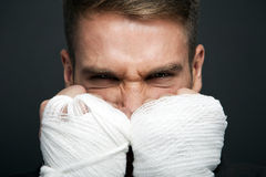 Angry businessman boxer Royalty Free Stock Image