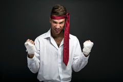 Angry businessman boxer Stock Photography
