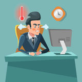 Angry Businessman Cartoon with Computer. Stress at Work Stock Photo
