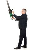 Angry businessman with chainsaw Royalty Free Stock Photography