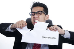 Angry businessman with copy space Royalty Free Stock Images