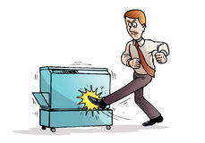 Angry businessman destroying his photocopy machine Royalty Free Stock Images