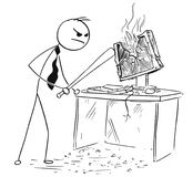 Angry Businessman Destroying Smashing Computer with Baseball Bat. Cartoon stick man illustration of angry businessman destroying smashing computer with baseball Stock Images