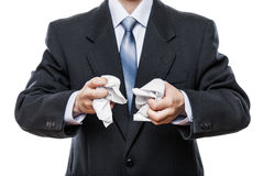 Angry businessman hand holding crumpled torn paper document Royalty Free Stock Photo