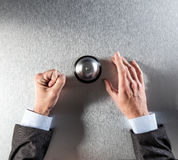 Angry businessman hands requiring corporate assistance, copy space, above view Stock Images
