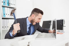 Angry businessman holding hammer over laptop Royalty Free Stock Image
