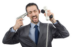 Angry businessman killing Stock Images