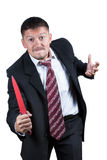 Angry businessman with knife Royalty Free Stock Photo