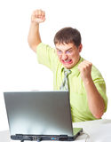 Angry businessman with laptop Stock Photos
