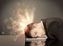 Angry businessman with lights and keyboard Royalty Free Stock Photos