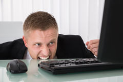 Angry Businessman Looking At Computer stock images